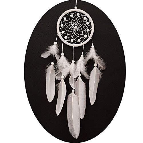 Vientiane Handgefertigt Dreamcatcher Traumfänger, Federn Monternet,Geschichten in der Amerikanischen indischen Mythologie für Wandbehang Dekoration Handwerk Geschenk (weiß)