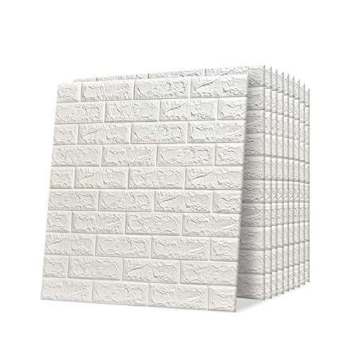 Trintion 10 Stück 3D Wandpaneele Selbstklebend Ziegel Tapete Steinoptik Wandaufkleber Wasserdicht Wandtapete für Küche, Schlafzimmer, Badezimmer, Wohnzimmer, 70x77cm, Weiß