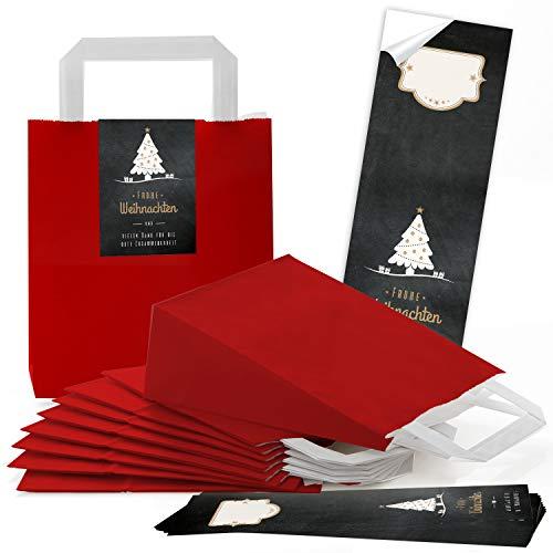 25 rote weihnachtliche Papiertüten Geschenktasche Henkel mit Boden 18 x 8 x 22 cm + 25 Aufkleber FROHE WEIHNACHTEN DANKE KUNDEN BAUM schwarz weiß gold Geschenk Verpackung Be-Füllen