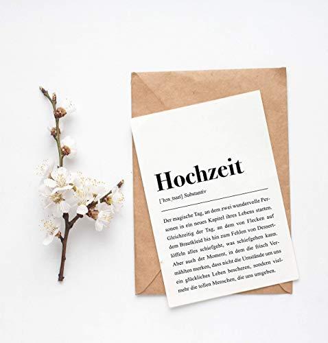 Grußkarte Hochzeit, DIN A6 Karte mit Umschlag (Kraftpapier)