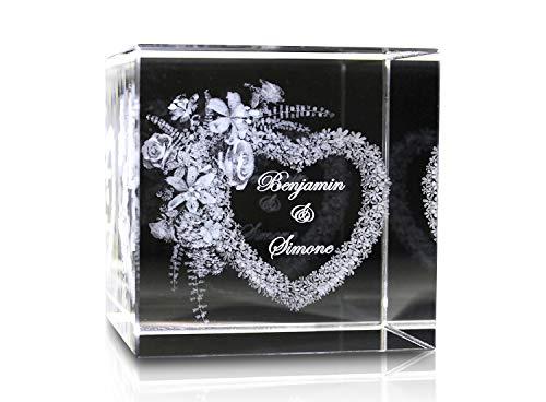 VIP-LASER 3D Glaskristall XL Blumenherz mit zwei Wunschnamen graviert - das ideale Geschenk für verliebte Paare