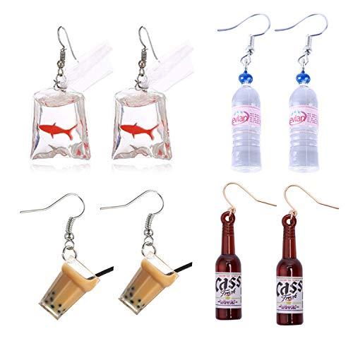 PPX 4 Paare lustige Acrylgoldfisch- und -wasserflasche und niedlicher Perlen-Milchtee baumeln Ohrringe und Bierflasche baumeln Ohrringe, Wasser-Beutel-Form baumeln Haken-Ohrringe für Mädchen