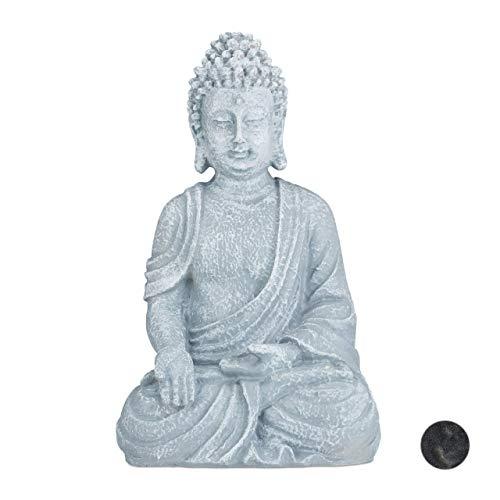 Relaxdays Buddha Figur sitzend, 40 cm hoch, Feng Shui Deko, wetterfest & frostsicher, große Garten Dekofigur, hellgrau