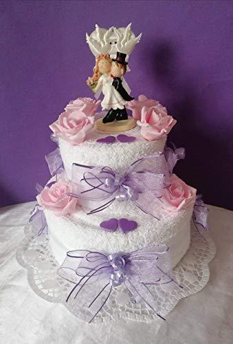 Handtuchtorte * Hochzeit * weiß * lila *rosa