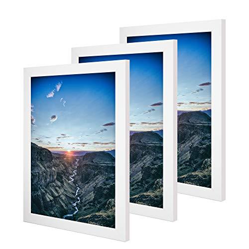 CABBEL 3er Set Bilderrahmen 30x40 cm MDF Holz-Rahmen mit bruchsicherem Acrylglas, ideal für Poster, Portraits in Weiß