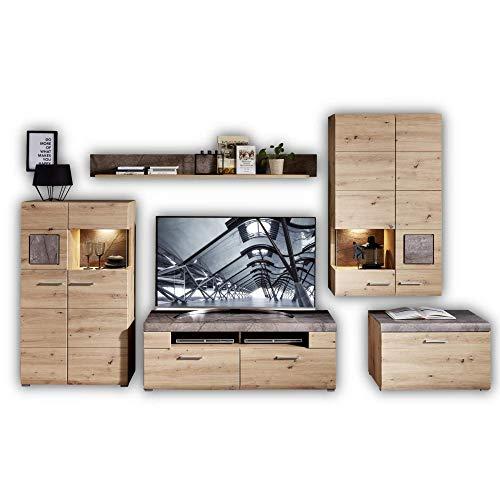 Stella Trading SPIDER PLUS Wohnwand Komplett-Set in Artisan-Eiche Optik, Caspio - Moderne Schrankwand für Ihr Wohnzimmer, 315 x 205 x 47 cm (B/H/T)