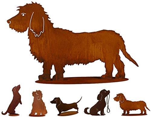 Gartenfigur Rost auf festem Stand – Hochwertig & Wetterfest - Metall Tierfigur - Edelrost Dekofigur / Tier Figur – Gartendeko / Dekoration (Dackel III - Höhe 42cm)