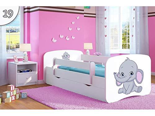 Bjird Kinderbett Jugendbett 70x140 80x160 80x180 Rosa mit Rausfallschutz Schublade und Lattenrost Kinderbetten für Mädchen - Jumbo 180 cm