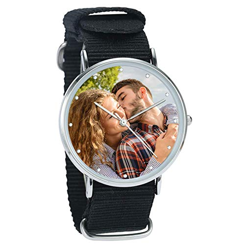 SOUFEEL Personalisiert Foto Armbanduhr für Herren mit Ihr Wunschgravur Fashion Uhr Analog Nylon Armband Silber Rosegold Klassisch Zifferblatt Geburtstagsgeschenk für Papa Freund Familie