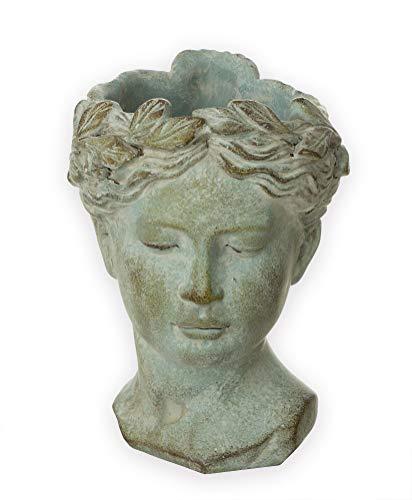Büste Antik-Look ca. 22x16 cm Pflanzgefäß - Matt-Grau - Für Pflanzen & Blumen - Antik Dekoration - Robuste Keramik - Blumentopf Vintage Deko
