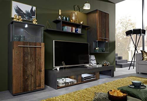 trendteam smart living Wohnzimmer 4-teilige Set Kombination Punch, 228 x 183 x 47 cm Front Old Wood, Korpus Matera mit viel Stauraum