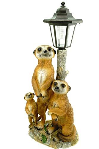 Kremers Schatzkiste Erdmännchen Familie mit Solarlaterne Figur Gartenfigur 51 cm Erdmännchenfamilie