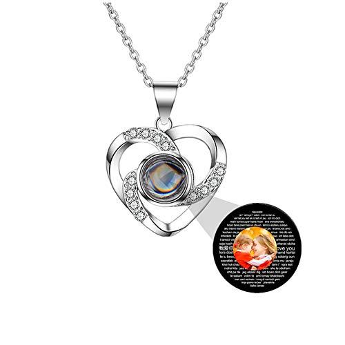 Personalisierte benutzerdefinierte Foto ich liebe dich Halskette Silber Rose Gold 100 Sprachen Projektion Anhänger Schmuck Geschenk für Mutter Frauen Frau Muttertag Halskette(Silver 22)