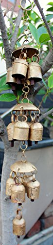 GESCHENKE Mango Deko Windspiel mit Metall Glocken, Vintage Look indischen Metall Craft
