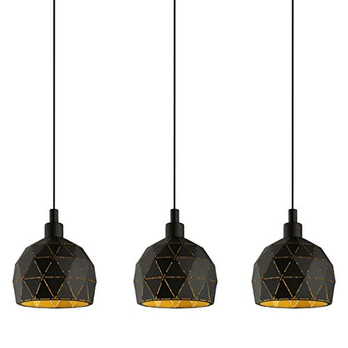 EGLO Pendellampe Roccaforte, 3 flammige Pendelleuchte, Hängelampe aus Stahl, Farbe: schwarz, gold, Fassung: E14