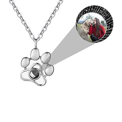 Foto Projektion Halskette Personalisiert Ich Liebe Dich Halskette 100 Sprachen Hunde Pfotenabdruck Kette Damen 925 Sterling Silber Halskette Anhänger Schmuck Geschenk