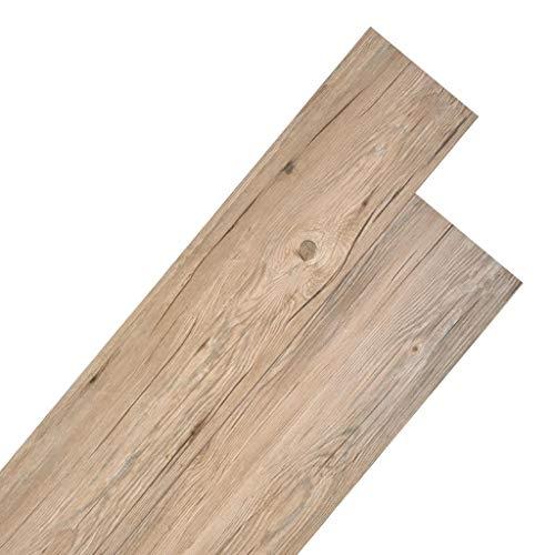 UnfadeMemory PVC Laminat Dielen Selbstklebend PVC-Boden Fußboden-Belag Strapazierfähig Rutschfest und Pflegeleicht, Laminatboden für Wohnzimmer oder Küche (5,26 m², Eichenbraun)