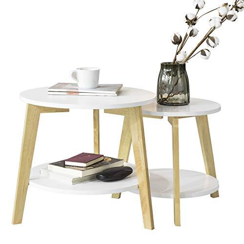 SoBuy FBT75-W 2er Set Beistelltisch mit runden Ablagen Couchtisch Sofatisch Kaffeetisch Wohnzimmertisch Kautschukholz Weiß/Natur