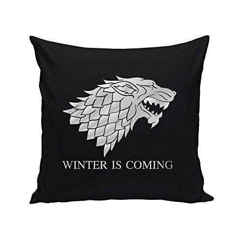 shirtdepartment 40x40cm Dekokissen mit Füllung Game of Thrones Schattenwolf, schwarz-Silber