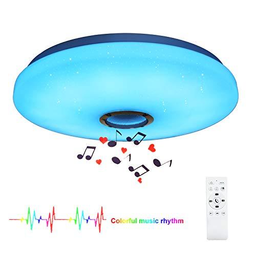 24W Bluetooth Musik LED Deckenleuchte Sternenhimmel Deckenlampe mit Lautsprecher und Fernbedienung Farbwechsel und Dimmbares Licht für Kinderzimmer (CE-zertifiziert)