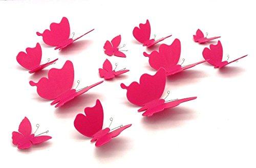 12 Schmetterlinge in Pink aus Kunststoff 3D Wanddeko Aufkleber Garten Blumen Deko