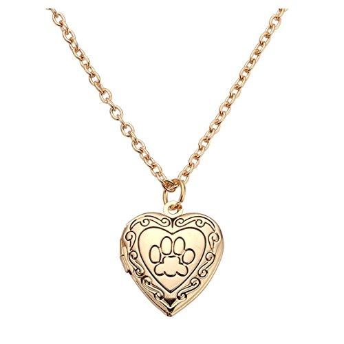 JOVIVI Herz-Kette Pfote Fußspuren Foto Medaillon zum Öffnen Photo Bilder Amulett Herz Anhänger Halskette für Damen Mädchen?Gold