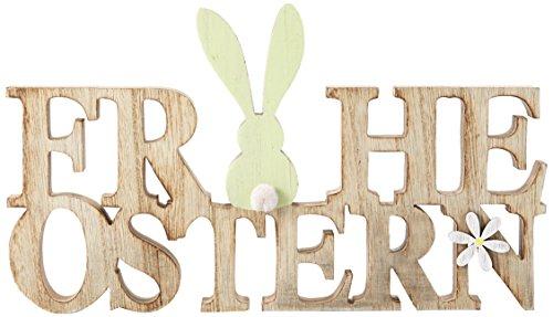 HEITMANN DECO Holz Schriftzug Frohe Ostern mit Hase - Dekorationsartikel - Tischdeko und Raumsschmuck für Osterzeit