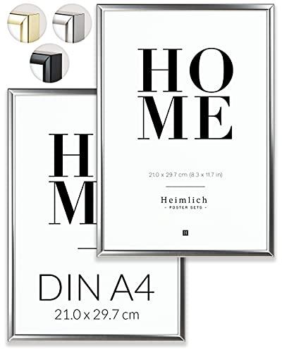 Heimlich® Doppelpack (2 STK.) Bilderrahmen DIN A4 SIlber   Bilderrahmen 21x30 Silber mit bruchsicherem Plexi-Glas   Aluminium