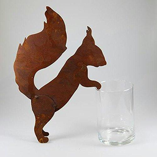 Gartendeko Rostoptik - Kleines Edelrost Tier: Eichhörnchen zum Anlehnen - Höhe 35cm - Rost Dekoration/Dekoeichhörnchen