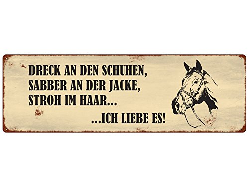 Interluxe METALLSCHILD Blechschild Dreck AN DEN Schuhen Pferd Pony Stall Reiten Geschenk Spruch Motivation Dekoschild