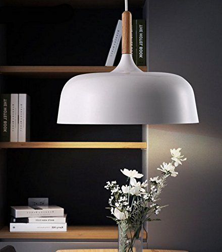 Retro Vintage LED Pendelleuchte Lampenschirm Wohnzimmer Schlafzimmer LED Hängeleuchte Metall Höhenverstellbar Hängeleuchte 1x E27 max. 60W, Ø32 cm (Weiß)