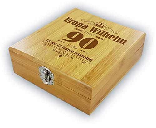 die stadtmeister Persönliche Geschenkbox mit Weinzubehör zum 90. Geburtstag mit Wunschnamen