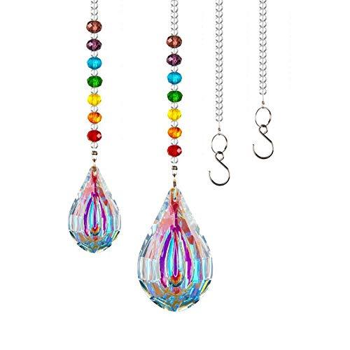 Kristall Regenbogen Sonnenfänger Hängende Fenster Glas Anhänger Kristallkugel Prisma für Zuhause Büro Garten Dekoration (A)