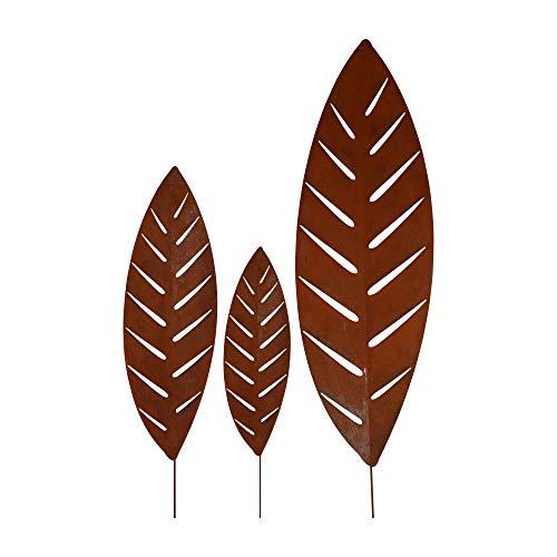 RM Design Gartendekoration Roststecker für Garten & Terrasse Palmblätter 50/70/100 x 32 cm, 3er Set