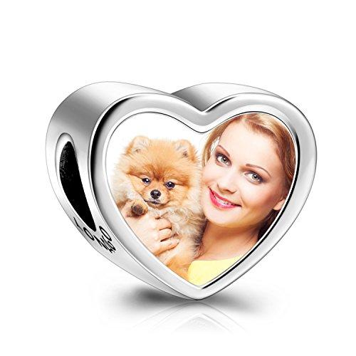 LONAGO 925 Sterling Silber Personalisierte Foto Charm Fit Pandora Armband Halskette Maßgeschneiderte Herzform Bild Perle (Pfote)