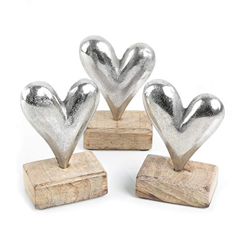 Logbuch-Verlag 3 Herzen Metall & Holz Weihnachten Metallherzen Symbol Geschenk Liebe Silber 14 cm Geburtstag Valentinstag