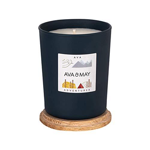 AVA & MAY AVA Duftkerze (180g) – Vegane Kerze im Glas mit holzigen Düften von Kardamom, Minze und Moschus – Handgemachte Kerze mit Naturfeeling
