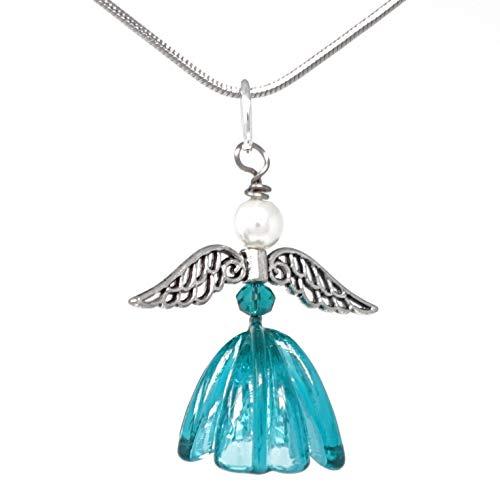 Glänzender Murano-Glas-Engel in petrol an einer feinen Edelstahl-Kette | Unikat handmade handgemacht | Personalisiertes Geschenk für sie zu Valentinstag Jahrestag Hochzeit Geburtstag Weihnachten Mama