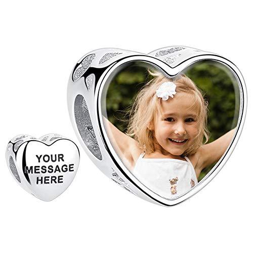 Personalisierter foto charm pandora charm mit foto charms armband foto charm beads silber 925 foto geschenk für die tochter frauen mama oma (charm herz)