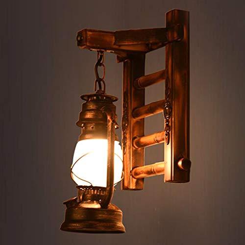 Holz Retro Lichter Rustikale Wohnzimmer Wandlampe EZ7 LED Lampe Wandleuchte Schlafzimmerwand Einfach Kreativ Vintage Antik Glas Lampenschirm Nostalgie Innen Loft Zimme Design Leuchte,C