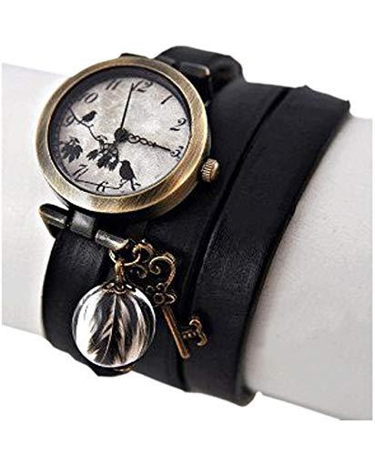 Bestseller - Echte Feder Echtleder Armbanduhr Wickeluhr - Damenuhr - Geschenk für Sie - Schmuck-Geschenk - Handmade Geschenk - Vintage - Schlüssel - Leder - Uhr