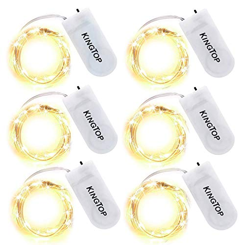 Led String Lichter 6 Stück KingTop Fairy Micro Lights 2M 20 LED batteriebetriebene Silver Wire Wasserdichte Lichter für Holiday Party Hochzeit Mittelstück Flasche Dekoration
