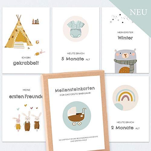 50 Meilensteinkarten Baby Meilensteine/in schöner Geschenkbox/Baby Meilensteinkarten/Boho/unisex/tolles Geschenk zur Taufe, Geburt, Schwangerschaft, Baby Shower, Babyparty