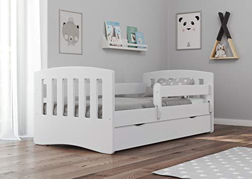 Bjird Kinderbett Jugendbett 80x160 80x180 Weiß mit Rausfallschutz Schublade und Lattenrost Kinderbetten für Mädchen und Junge - Classic I 180 cm
