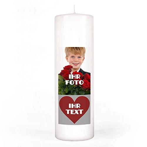 Herz & Heim® Fotokerze mit Gratis Druck Ihres Wunschtextes im Herz 8x25 cm