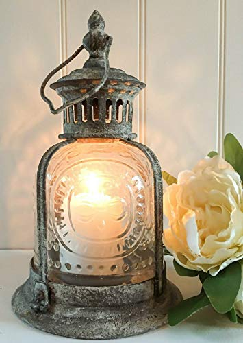 Grau Vintage Stil, shabby chic, fleur de lys Windlicht-Kerzenhalter