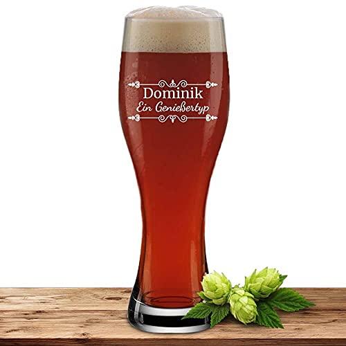 Bierglas mit Name oder Wunschtext, Weizenbierglas 0,5l inkl. Gravur, individuelles Geschenk, personalisiertes Bierglas (Verzierung 01)