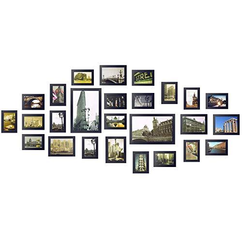 Yorbay Bilderrahmen 26er Set aus Holz Fotorahmen19 STK. 10x15cm, 5 STK. 13x18cm, 2Stk. 20x30cm aus Plexiglas Foto Collage, mit 3 häufigsten 1:1 Installationsvorlage und Bildabdeckung(Schwarz)