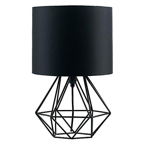 MiniSun – Schwarze Tischlampe im retro Körbchenstil mit schwarzem Stoffschirm – 1 flammige Vintage Tischleuchte – E14 Nachttischlampe – Korb Tischlampe, Schwarz (40W, E14) [Energieklasse A++]
