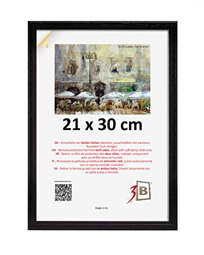 3-B Bilderrahmen JENA 21x30 cm - schwarz - Holzrahmen, Fotorahmen, Portraitrahmen mit Plexiglas